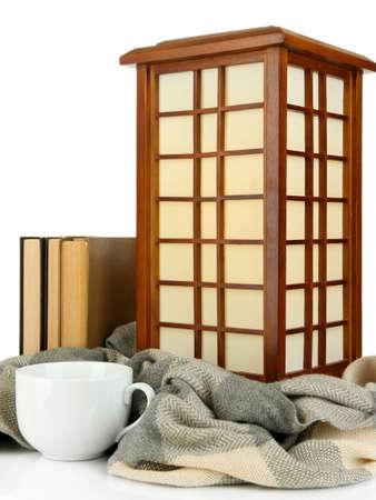 flatter: Japanese table lamp isolated on white