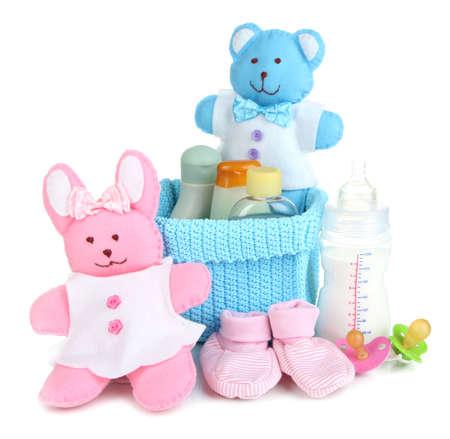 Accesorios para bebés aislados en blanco