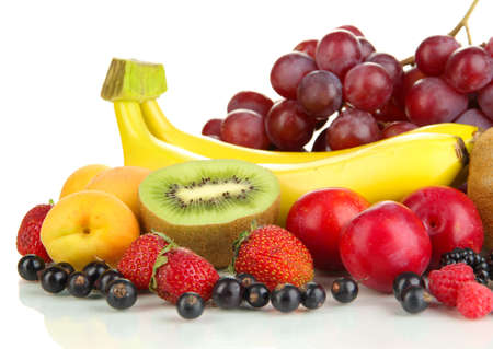 Fresh fruits and berries isolated on white Stock Photo