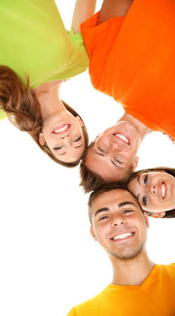 student university: Happy group of beautiful young people, isolated on white Stock Photo