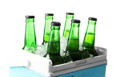 Bottles of beer with ice cubes in mini refrigerator, isolated on white photo