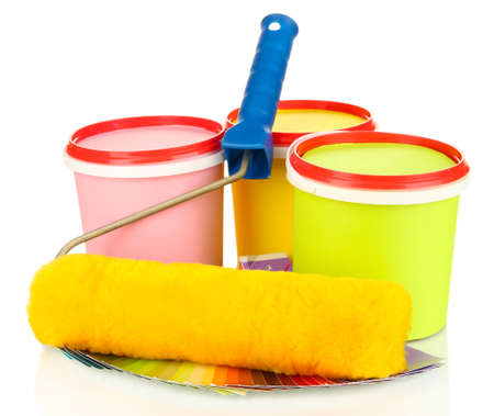 redecorating: Set for painting: paint pots, brushes, paint-roller, palette of colors isolated on white Stock Photo
