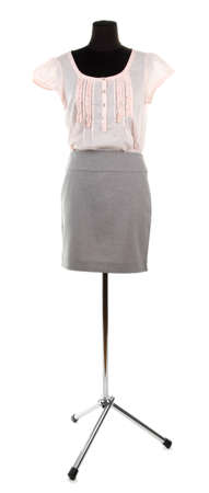 Nice blouse and gray skirt on mannequin,  isolated on white photo