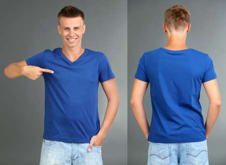 T-shirt on young man in front and behind on grey background