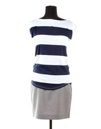 Bonita blusa y falda gris en maniqu�, aislado en blanco photo