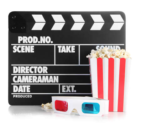 Movie clapperboard popcorn and 3D glasses, isolated on white photo