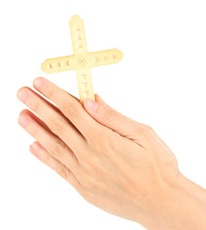Hands in Prayer with Crucifix on white background close-up photo