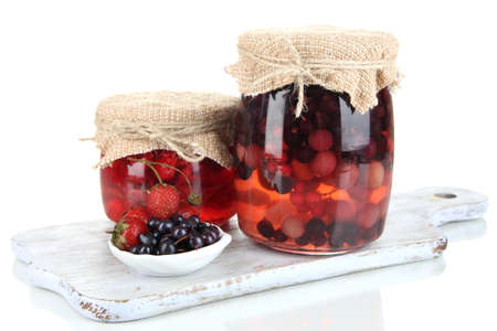 Home made berry jam isolated on white photo