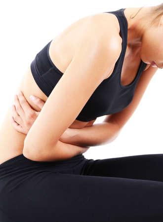 cramp: Abdominal pain isolated on white