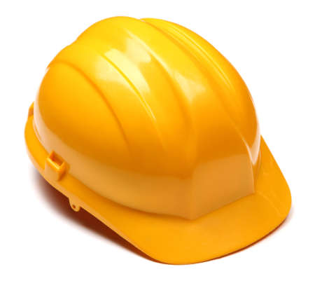 Yellow helmet isolated on white Stock Photo - 21556217