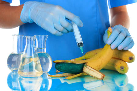 Scientists make injection into banana in laboratory photo