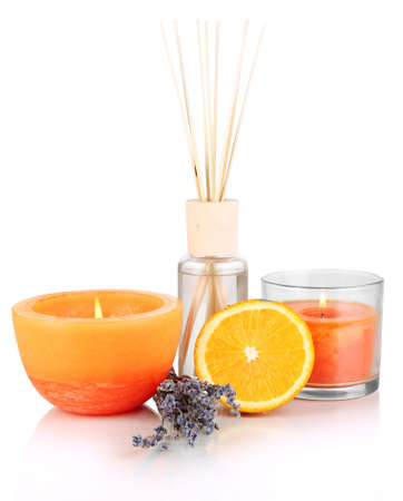 perfume oil: Aromatic sticks for home with fruity odor isolated on white Stock Photo