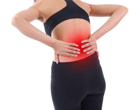 Lagere rugpijn in vrouw geïsoleerd op wit Stockfoto