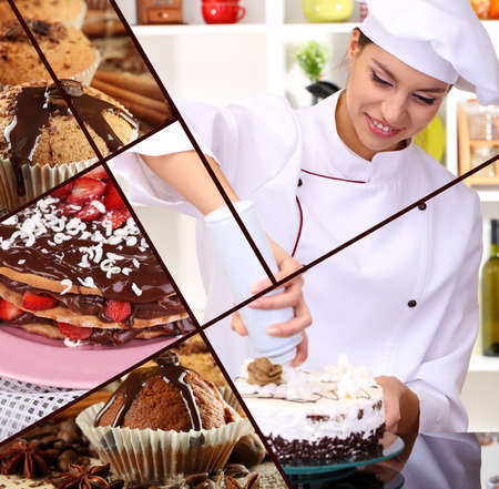 Collage of confectionery theme consisting of delicious pastries and cook photo