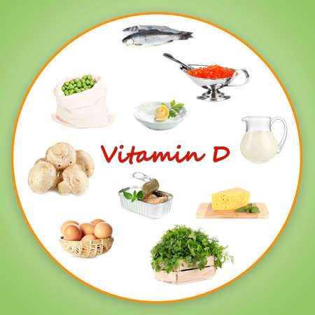 Food sources of vitamin D Stok Fotoğraf