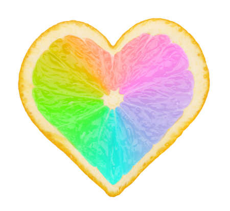lemony: Multicolored piece of orange in form of heart isolated on white Stock Photo
