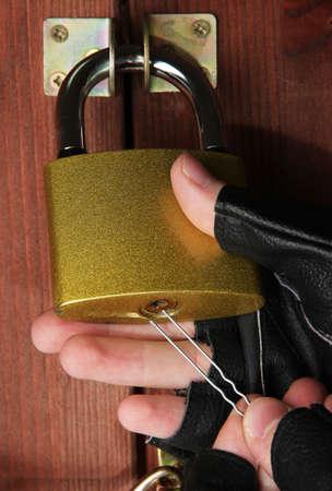 deadbolt: Robber breaks castle in door close-up