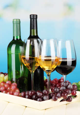 Wine bottles and glasses of wine on tray, on bright background Stock Photo - 21759299