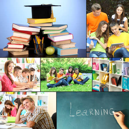 concep: Collage of students peoples- education concep Stock Photo