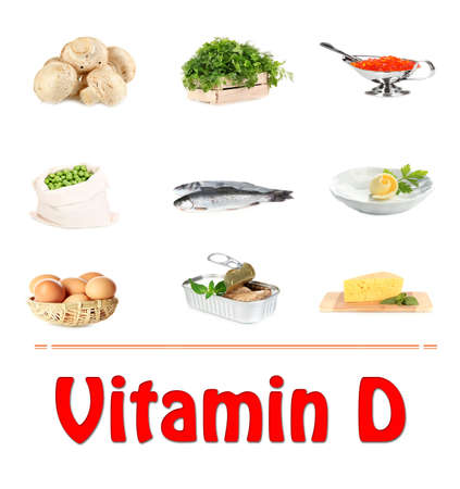 sources: Food sources of vitamin D, isolated on white