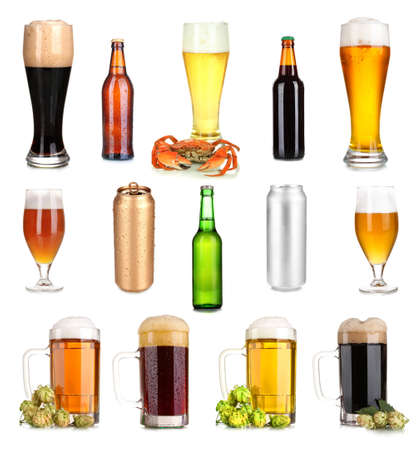 Lots of beer in different containers isolated on white photo