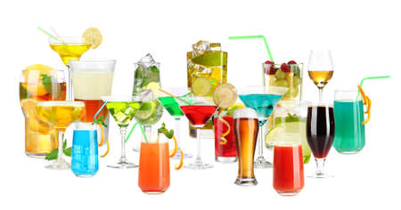 Lot of different cocktails and drinks isolated on white photo