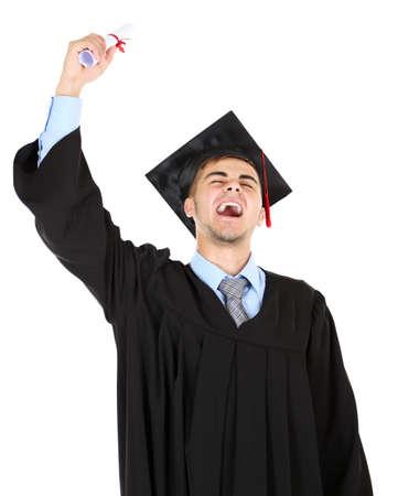 Happy graduating student isolated on white Stock Photo