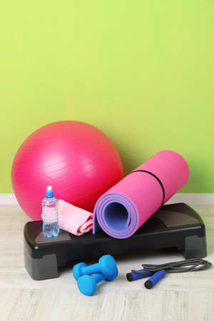 exercise room: Different tools for fitness in room Stock Photo