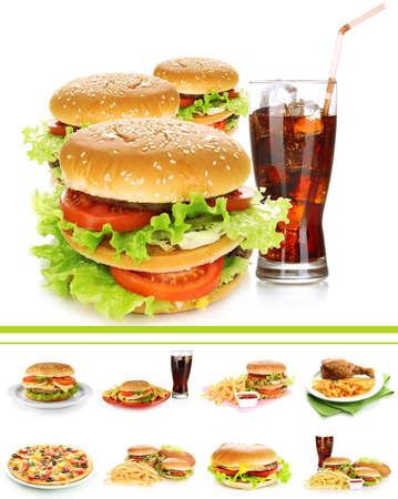 pollo frito: Collage de la comida r�pida Foto de archivo
