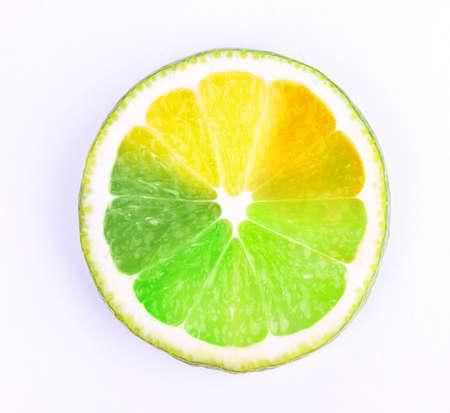 lemony: Multicolored piece of lemon isolated on white