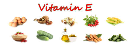 Food sources of vitamin E, isolated on white photo