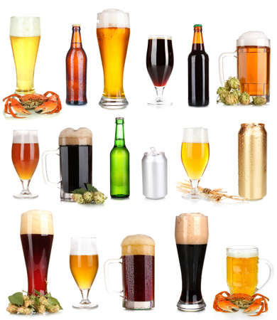 Lots of beer in different containers isolated on white Stock Photo - 21829160
