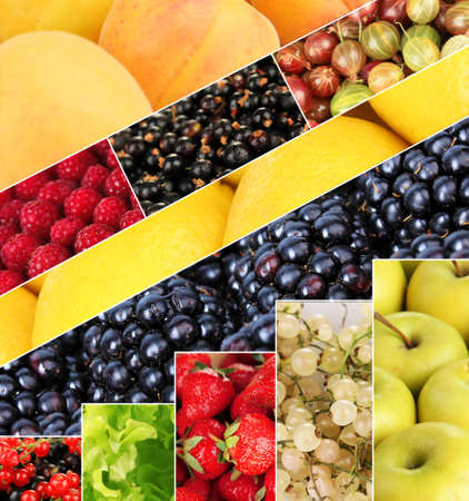 Collage of fruits and berries close-up background photo