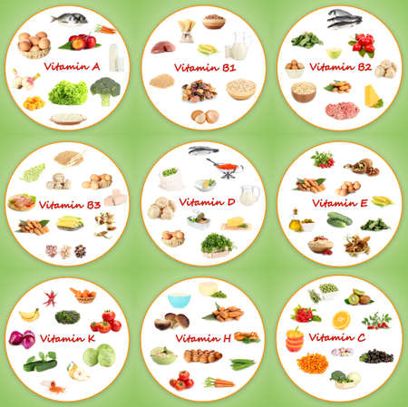 d: Collage of various food products containing vitamins
