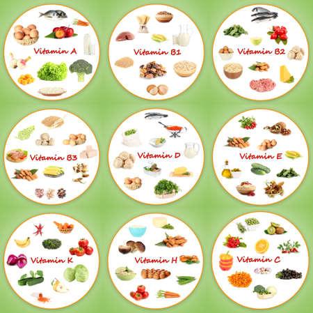 Collage van verschillende voedingsmiddelen die vitaminen