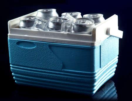 Kleiner Kühlschrank Eiswürfel : Metall dosen bier mit eiswürfeln in mini kühlschrank auf