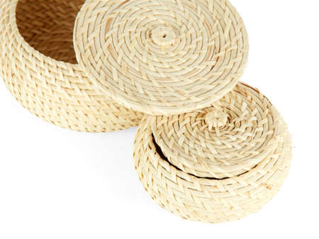 Wicker baskets isolated on white Stock Photo - 21854326