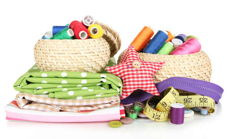 basket embroidery: Wicker baskets with accessories for needlework isolated on white
