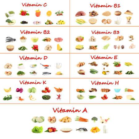 비타민을 포함하는 다양한 식품의 콜라주