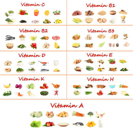 containing: Collage of various food products containing vitamins