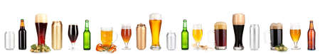 Lots of beer in different containers isolated on white Stock Photo - 21873636