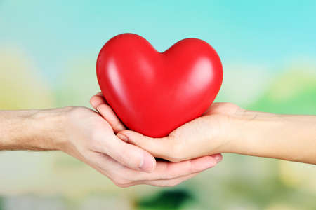 men health: Heart in hands on nature background