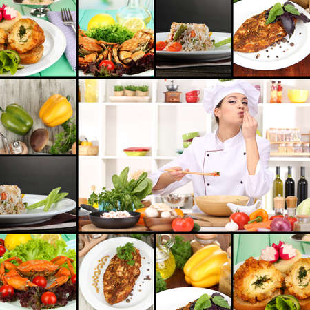 Collage on culinary theme consisting of delicious dishes and cooks photo