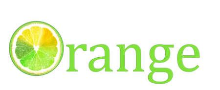 lemony: Word Orange with multicolored piece of lemon isolated on white
