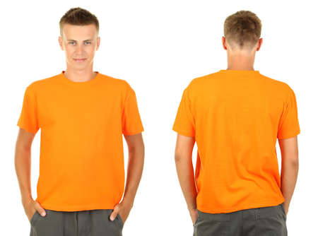 with orange and white body: T-shirt on young man in front and behind isolated on white