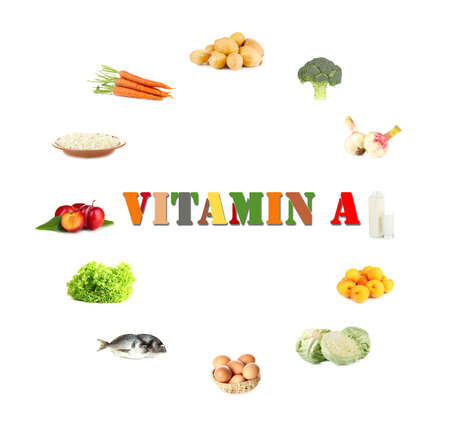 contain: Products which contain vitamin A Stock Photo