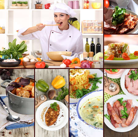 Collage on culinary theme consisting of delicious dishes and cooks Stock Photo - 22415753