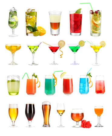 gladiolus: Lot of different cocktails and drinks isolated on white