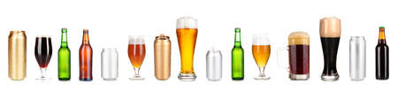 Lots of beer in different containers isolated on white Stock Photo - 21977660
