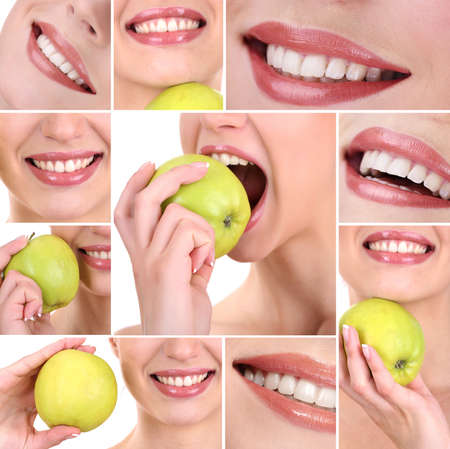 Collage of  woman mouth with healthy teeth photo